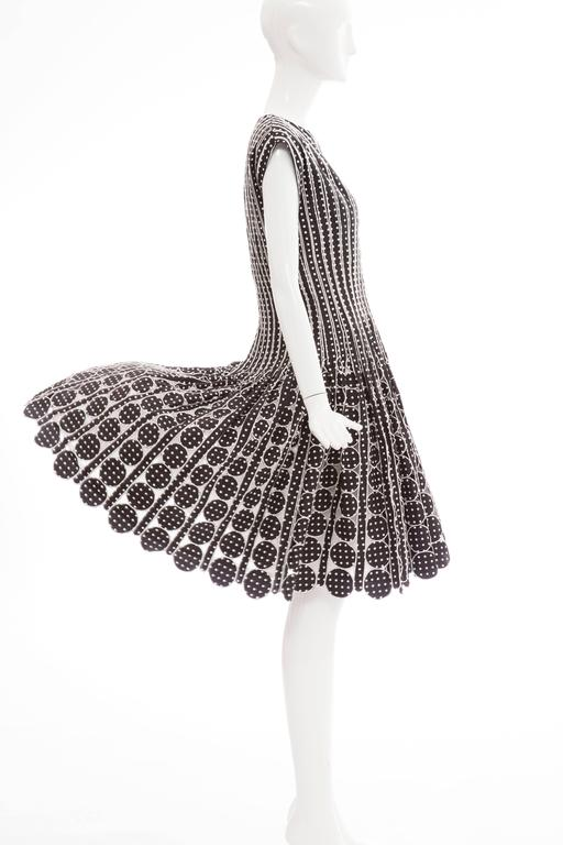 Oscar De la Renta Black Silk Faille With White Polka Dots Dress, Resort 2007 For Sale 3
