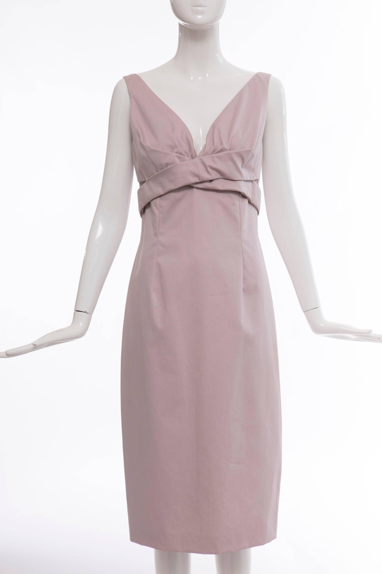 Alexander McQueen, Spring 2006 lilac cotton sleeveless dress with back zip and hook-and-eye closure and fully lined.  Retail: $1250  EU. 42 US. 6  Bust 32, Waist 28, Hips 37, Length 43