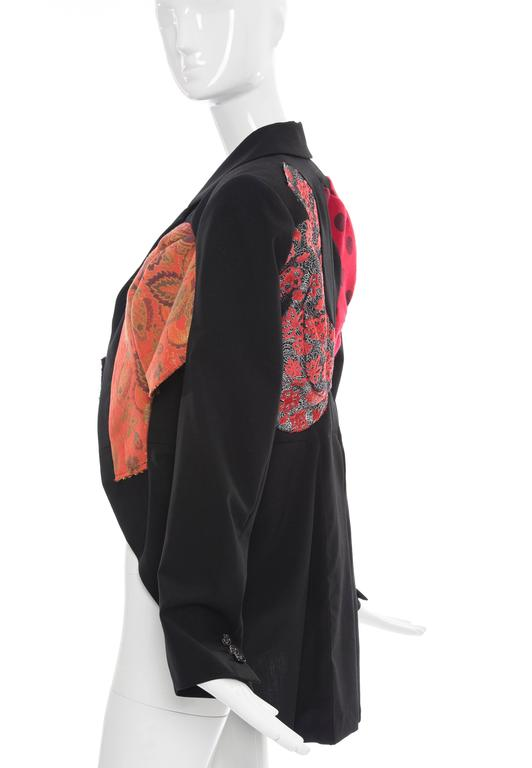 Women's Comme des Garcons Black Wool Patchworked Brocades Jacket, Spring 2010 For Sale