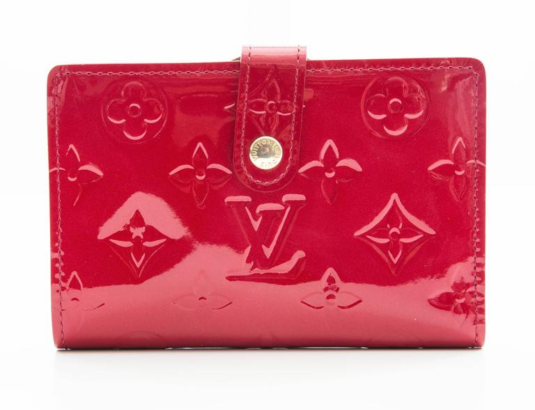 Cherry red monogram vernis Louis Vuitton French purse wallet with brass  hardware, eight interior card 6180ea3c992