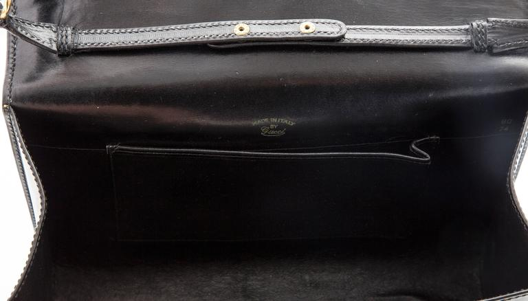 Gucci Black Leather Clutch With Detachable Shoulder Strap, Circa 1970s For Sale 5