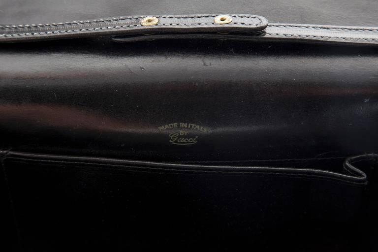 Gucci Black Leather Clutch With Detachable Shoulder Strap, Circa 1970s For Sale 2