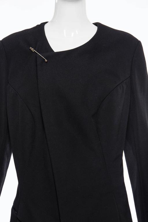 Comme des Garcons Black Coat Asymmetrical Neckline Safety Pin Closure, Circa1997 For Sale 4