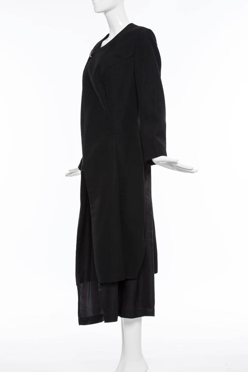 Comme des Garcons Black Coat Asymmetrical Neckline Safety Pin Closure, Circa1997 For Sale 1