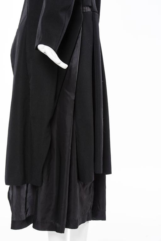 Comme des Garcons Black Coat Asymmetrical Neckline Safety Pin Closure, Circa1997 For Sale 5