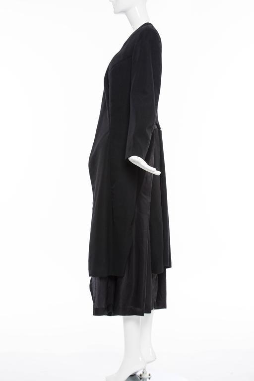 Comme des Garcons Black Coat Asymmetrical Neckline Safety Pin Closure, Circa1997 In Excellent Condition For Sale In Cincinnati, OH