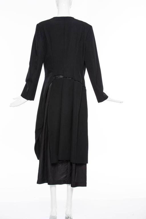 Women's Comme des Garcons Black Coat Asymmetrical Neckline Safety Pin Closure, Circa1997 For Sale