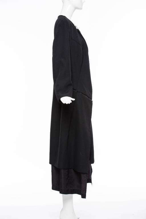 Comme des Garcons Black Coat Asymmetrical Neckline Safety Pin Closure, Circa1997 For Sale 3