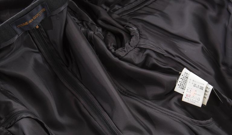 Comme des Garcons Black Coat Asymmetrical Neckline Safety Pin Closure, Circa1997 For Sale 6