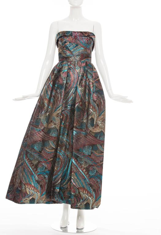 Pauline Trigere Strapless Metallic Brocade Dress Circa 1960's 5