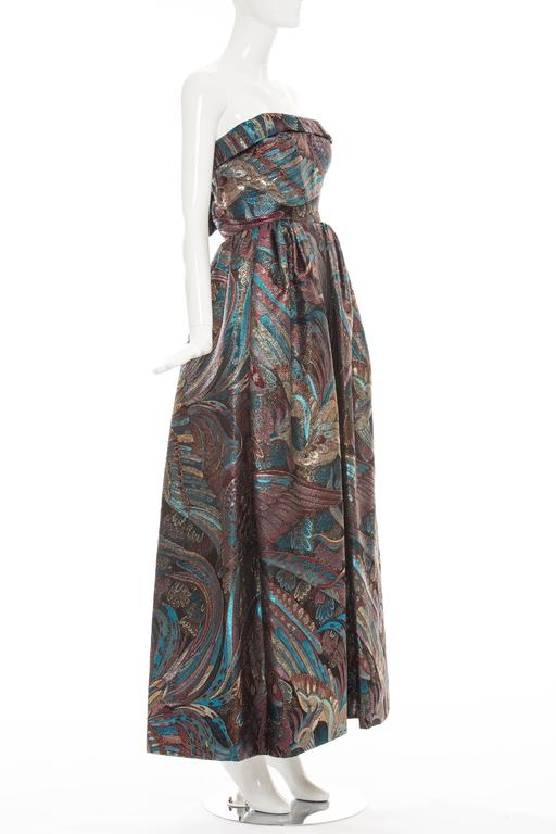 Pauline Trigere Strapless Metallic Brocade Dress Circa 1960's 2