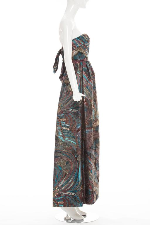 Pauline Trigere Strapless Metallic Brocade Dress Circa 1960's 4