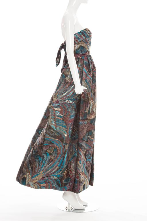 Pauline Trigere Strapless Metallic Brocade Dress Circa 1960's 7