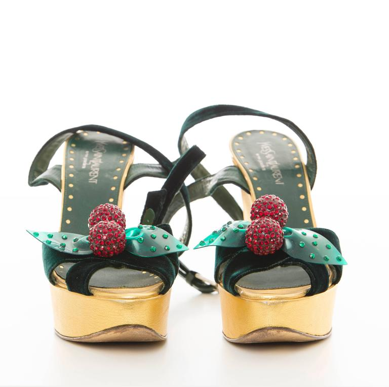 Women's Tom Ford Yves Saint Laurent Emerald Green Velvet Cherry Platforms, Fall 2003 For Sale
