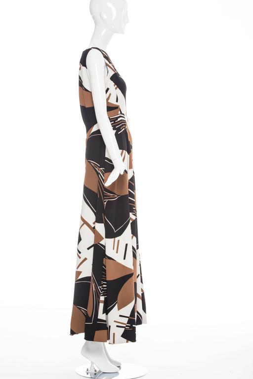 Elinor Simmons for Malcolm Starr, circa 1970's, sleeveless maxi dress with back zip.