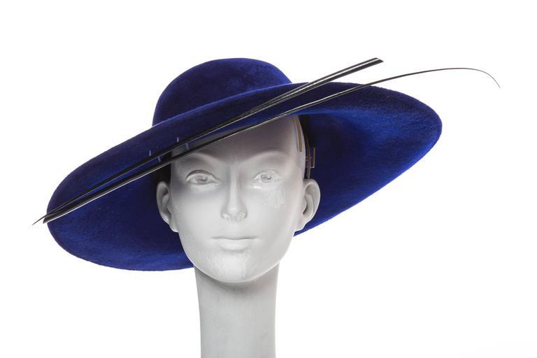Philip Treacy Indigo Wool Felt Hat 2