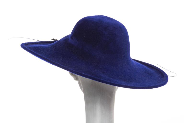 Philip Treacy Indigo Wool Felt Hat 4