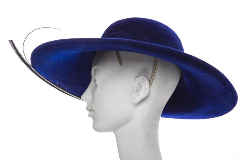 Philip Treacy Indigo Wool Felt Hat 5