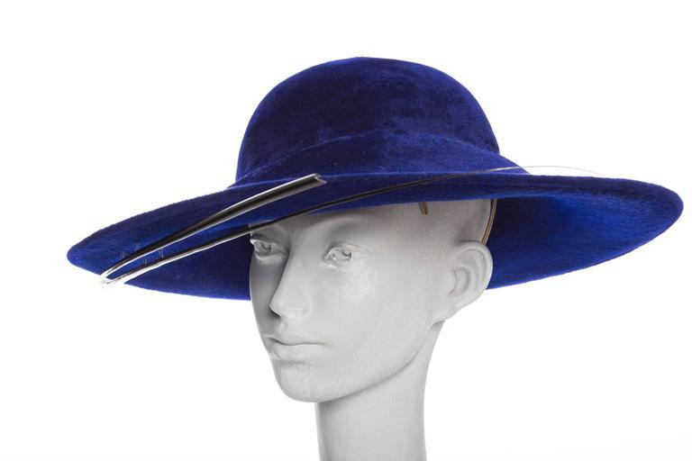 Philip Treacy Indigo Wool Felt Hat 6