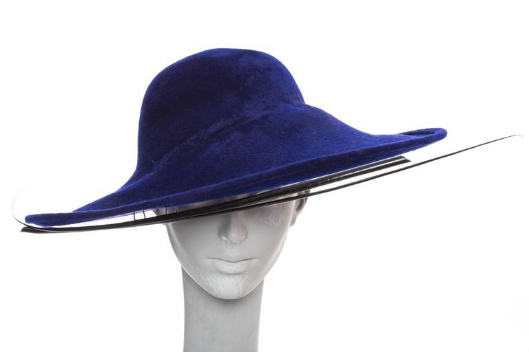 Philip Treacy Indigo Wool Felt Hat 7