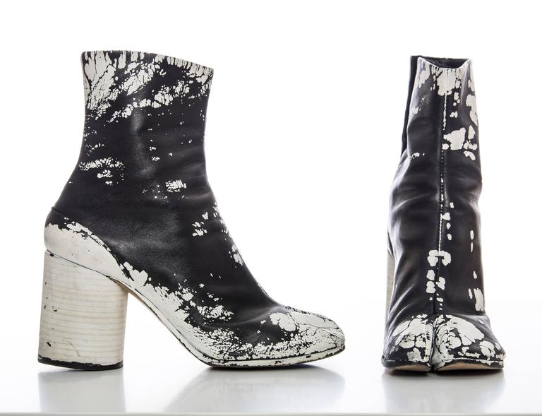 25f0f44ca61 Maison Martin Margiela Leather Painted Tabi Boots Circa 1990's