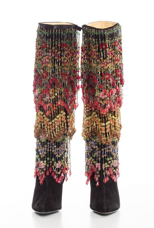 Todd Oldham, Fall 1997, black suede boots with detachable polychrome beads.