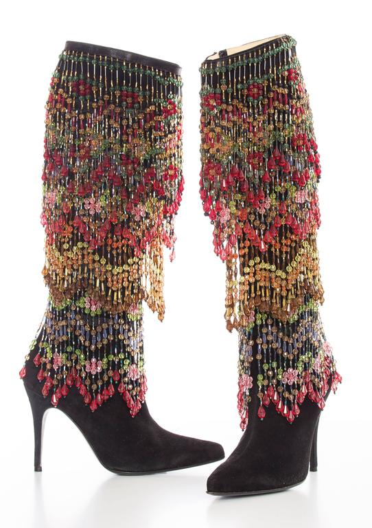 Todd Oldham Black Suede Boots With Detachable Polychrome Beads, Fall 1997 5