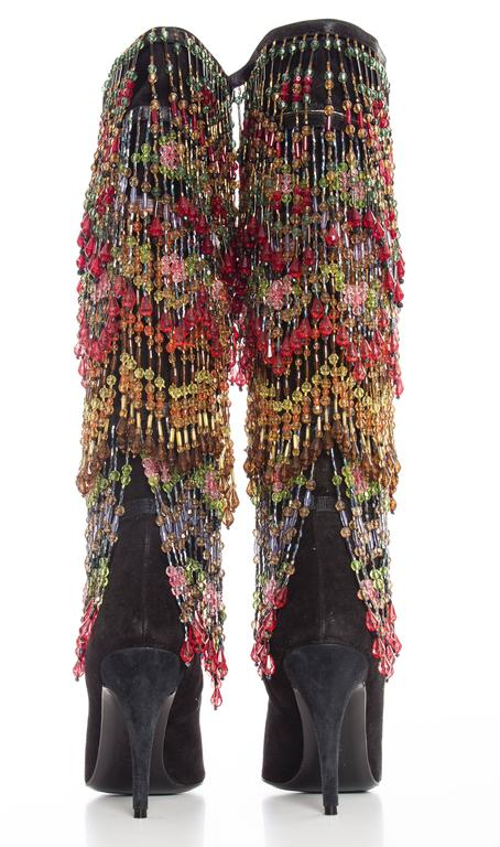 Women's Todd Oldham Black Suede Boots With Detachable Polychrome Beads, Fall 1997 For Sale