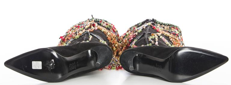 Todd Oldham Black Suede Boots With Detachable Polychrome Beads, Fall 1997 8