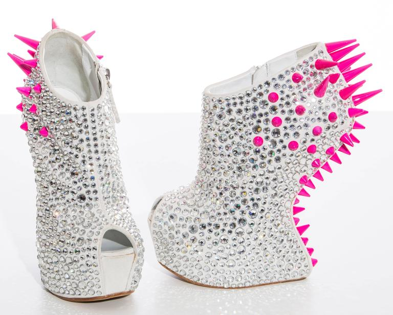 Gray Guiseppe Zanotti Swarovski Crystal & Spike-Embellished Wedges Fall 2012 For Sale