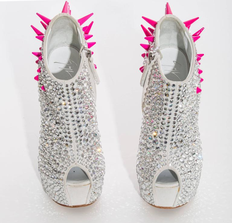 Guiseppe Zanotti Swarovski Crystal & Spike-Embellished Wedges Fall 2012 In New Never_worn Condition For Sale In Cincinnati, OH