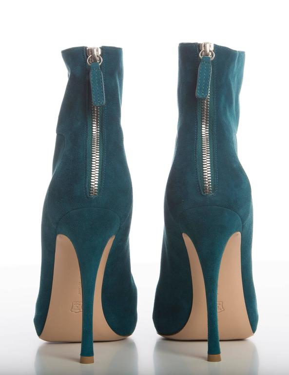 Blue Gianvito Rossi Suede Bootie For Sale
