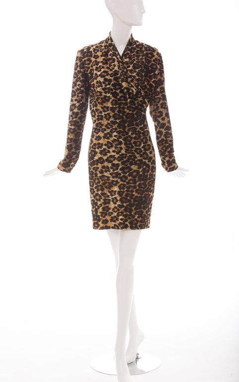 Patrick Kelly Stretch Velour Leopard Print Wrap Dress, Circa 1980's 2