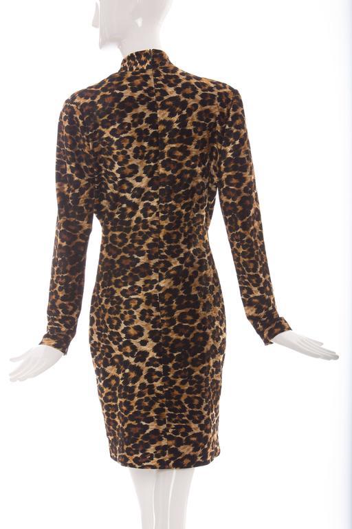 Patrick Kelly Stretch Velour Leopard Print Wrap Dress, Circa 1980's 4