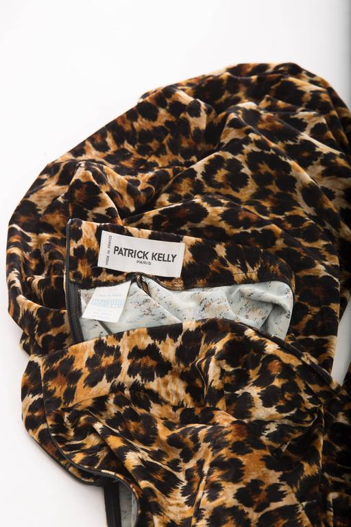 Patrick Kelly Stretch Velour Leopard Print Wrap Dress, Circa 1980's 7