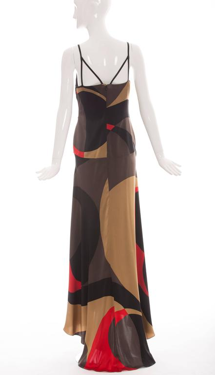 Brown Valentino Printed Silk Evening Dress   For Sale