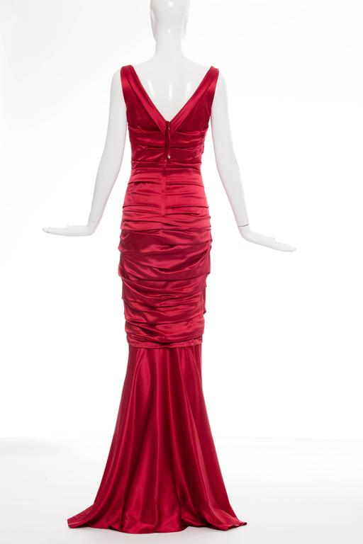 Dolce & Gabbana Red Silk Evening Dress 3