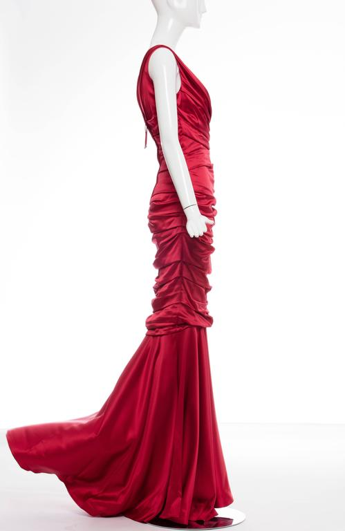 Dolce & Gabbana Red Silk Evening Dress 4