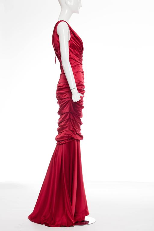 Dolce & Gabbana Red Silk Evening Dress 5