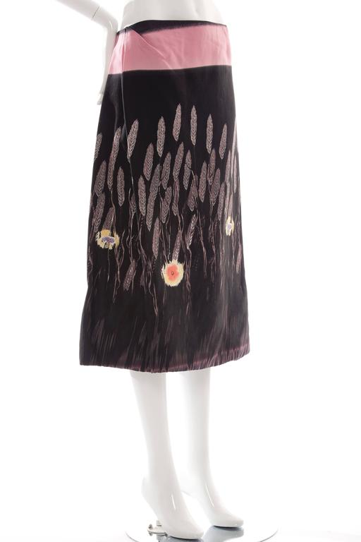 """Prada, Spring-Summer 1998, lightweight printed skirt with concealed zip closure at side and fully lined.  IT. 46 US. 10  Waist 32"""", Hip 42"""", Length 31"""" Fabric Content: 85% Cotton, 15% Silk; Lining 100% Rayon"""