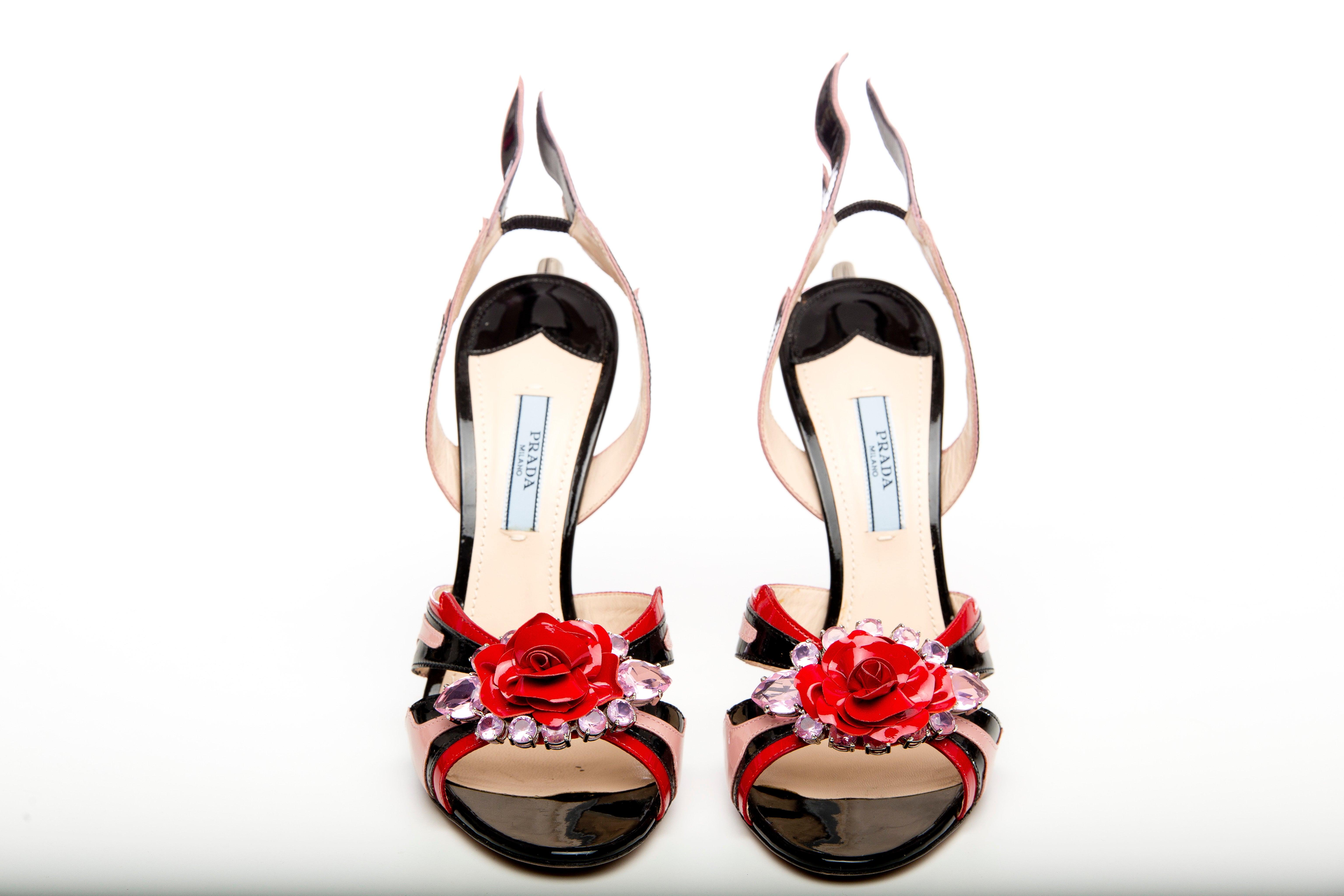 5d5128481933 Prada Jewel Toe Tail Light Flame Sandals