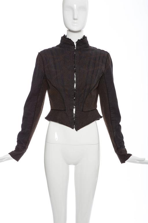 Alexander McQueen Blue Cotton Denim Jacket Brown Geometric Stitching, Circa 2007 2