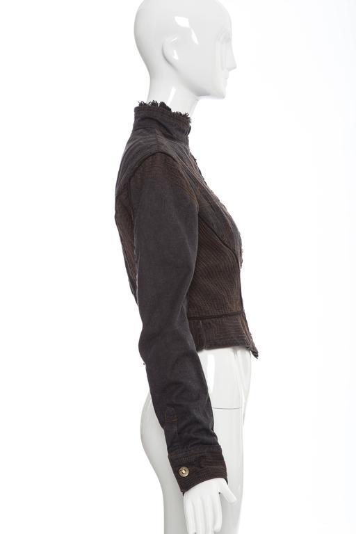Alexander McQueen Blue Cotton Denim Jacket Brown Geometric Stitching, Circa 2007 3