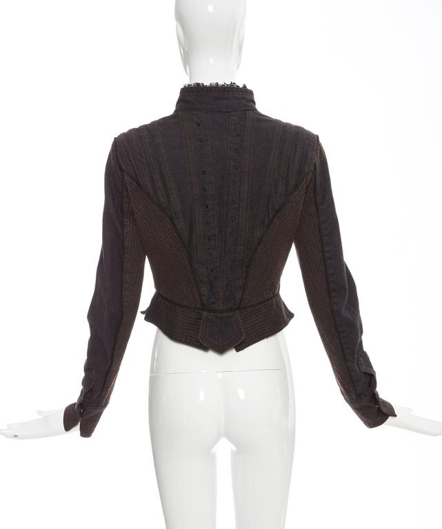 Alexander McQueen Blue Cotton Denim Jacket Brown Geometric Stitching, Circa 2007 4