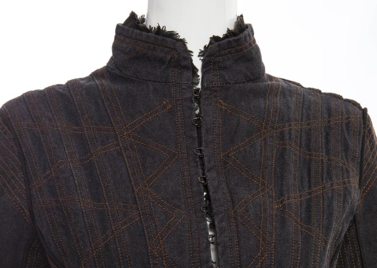 Alexander McQueen Blue Cotton Denim Jacket Brown Geometric Stitching, Circa 2007 8
