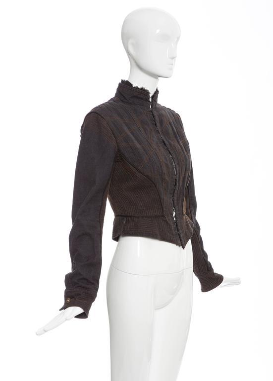 Alexander McQueen Blue Cotton Denim Jacket Brown Geometric Stitching, Circa 2007 6