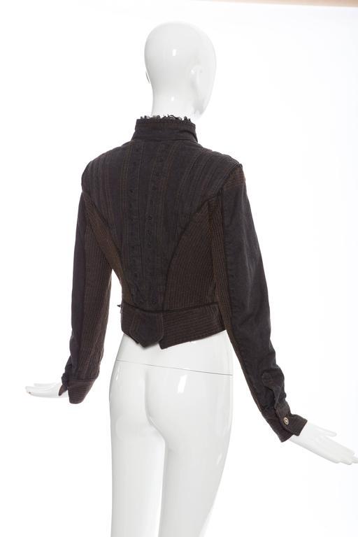 Alexander McQueen Blue Cotton Denim Jacket Brown Geometric Stitching, Circa 2007 7