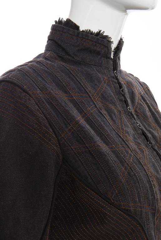 Alexander McQueen Blue Cotton Denim Jacket Brown Geometric Stitching, Circa 2007 5