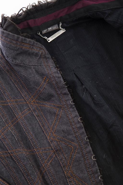 Alexander McQueen Blue Cotton Denim Jacket Brown Geometric Stitching, Circa 2007 9