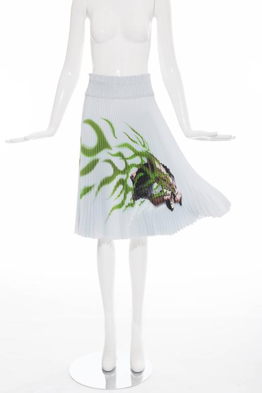 """Prada, Spring-Summer 2012,  skirt with Cadillac car printed at front, accordion pleats throughout, elasticized waist and concealed side zip.  Waist 28"""", Hip 32"""", Length 26"""""""
